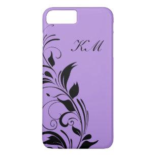 Capa iPhone 8 Plus/7 Plus Monograma roxo floral elegante