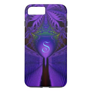 Capa iPhone 8 Plus/7 Plus Monogrammed azul e roxo do laço elegante do