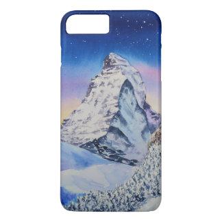 Capa iPhone 8 Plus/7 Plus Montanha de Matterhorn na neve na noite do inverno