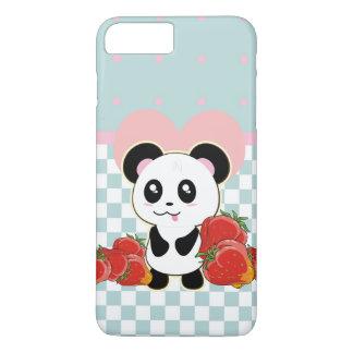 Capa iPhone 8 Plus/7 Plus Morangos da panda de Kawaii bonitos