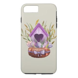 Capa iPhone 8 Plus/7 Plus Ninho bonito do primavera da aguarela