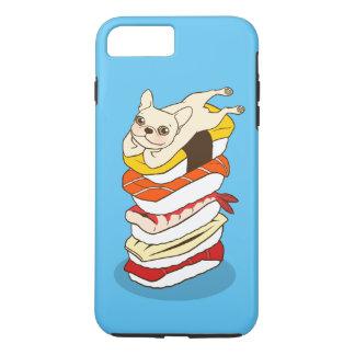Capa iPhone 8 Plus/7 Plus Noite japonesa do sushi para o buldogue francês