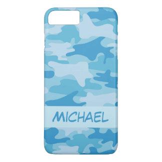 Capa iPhone 8 Plus/7 Plus Nome azul da camuflagem de Camo personalizado