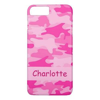 Capa iPhone 8 Plus/7 Plus Nome cor-de-rosa da camuflagem de Camo