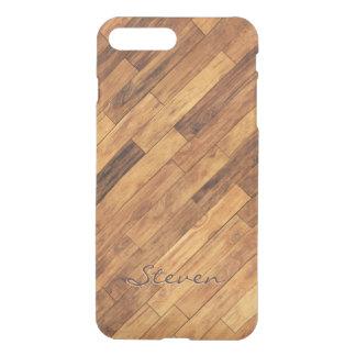 Capa iPhone 8 Plus/7 Plus Nome de madeira do monograma do teste padrão do