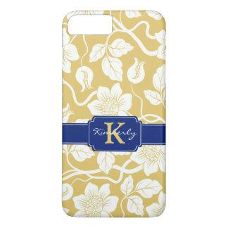 Capa iPhone 8 Plus/7 Plus Nome/inicial florais amarelos & azuis