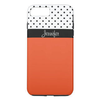 Capa iPhone 8 Plus/7 Plus Nomeie-o! Tangerina T, bloco branco preto da cor