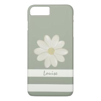 Capa iPhone 8 Plus/7 Plus O creme da flor da margarida listra o sábio