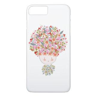 Capa iPhone 8 Plus/7 Plus O Doodle floresce a cara bonita da menina