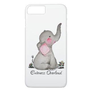 Capa iPhone 8 Plus/7 Plus O elefante bonito do bebê da aguarela com cora &