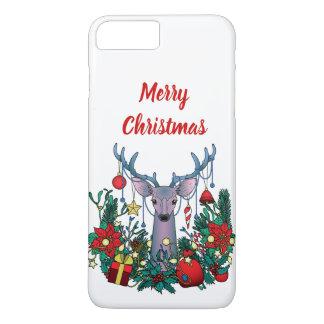 Capa iPhone 8 Plus/7 Plus O Feliz Natal encaixota com cervos do Natal