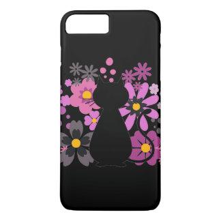 Capa iPhone 8 Plus/7 Plus O gato no rosa floresce IPhone 7+/8+ Mal lá caso
