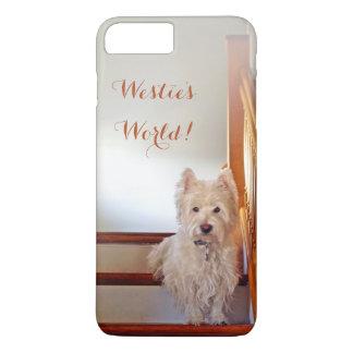 Capa iPhone 8 Plus/7 Plus O mundo de Westie! Westie em escadas do vintage
