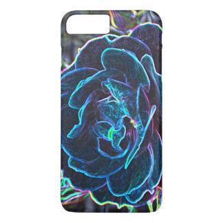 Capa iPhone 8 Plus/7 Plus O néon azul de Swirly aumentou