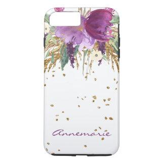 Capa iPhone 8 Plus/7 Plus O ouro floral Amethyst roxo Sparkles monograma