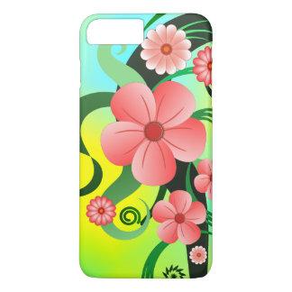 Capa iPhone 8 Plus/7 Plus O rosa bonito floresce magro floral do hibiscus
