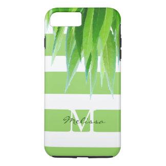 Capa iPhone 8 Plus/7 Plus O verde chique listra o monograma com folhas