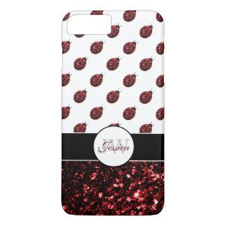 Capa iPhone 8 Plus/7 Plus O vermelho sparkles caso positivo do iPhone 7 do