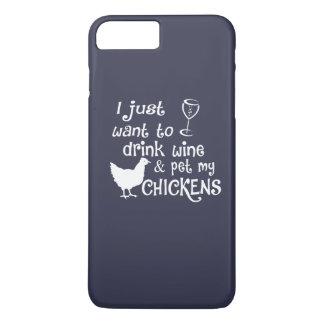 Capa iPhone 8 Plus/7 Plus O vinho da bebida & Pet minhas galinhas