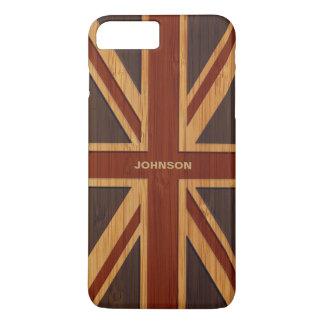 Capa iPhone 8 Plus/7 Plus Olhar de bambu & bandeira BRITÂNICA gravada Union