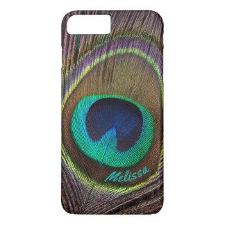 Capa iPhone 8 Plus/7 Plus Olho bonito da pena do pavão, seu nome