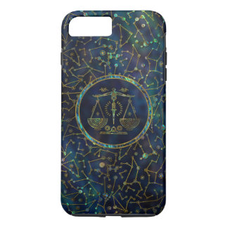 Capa iPhone 8 Plus/7 Plus Olmo do ouro do zodíaco do Libra na constelação