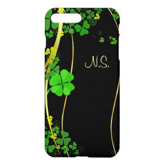 Capa iPhone 8 Plus/7 Plus Onda afortunada verde do brilho do falso do preto
