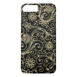 Capa iPhone 8 Plus/7 Plus Os carvões elegantes Sparkles e os redemoinhos do