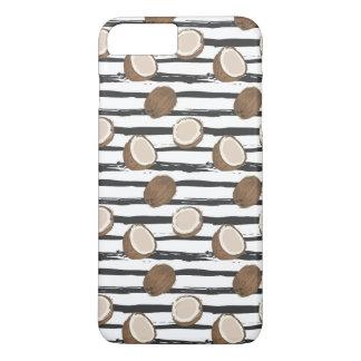 Capa iPhone 8 Plus/7 Plus Os cocos no Grunge listram o teste padrão