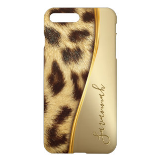 Capa iPhone 8 Plus/7 Plus Ouro elegante do monograma da pele do leopardo do