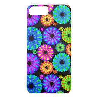 Capa iPhone 8 Plus/7 Plus Padrões de flor retros coloridos no fundo preto