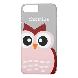 Capa iPhone 8 Plus/7 Plus Pássaro cor-de-rosa bonito da coruja no caso