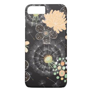 Capa iPhone 8 Plus/7 Plus Pêssego abstrato, luz - verde, flores brancas