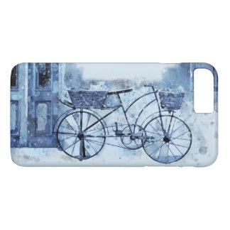 Capa iPhone 8 Plus/7 Plus Pintura de cena azul da rua da bicicleta