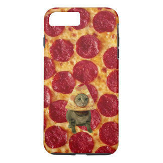 Capa iPhone 8 Plus/7 Plus Pizza de Pepperoni e gato loucos da pizza