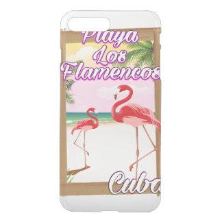 Capa iPhone 8 Plus/7 Plus Poster de viagens de Cuba dos Flamencos de Playa
