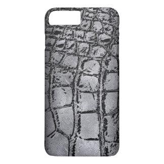 Capa iPhone 8 Plus/7 Plus Prata do falso e pele preta de /Snake do crocodilo