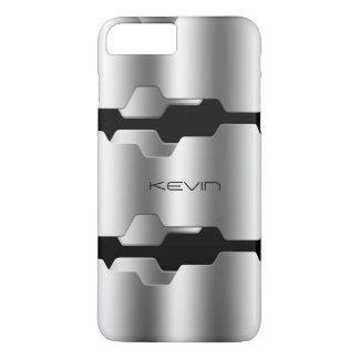 Capa iPhone 8 Plus/7 Plus Prata metálica moderna & design geométrico preto