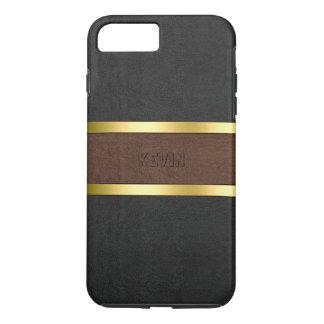 Capa iPhone 8 Plus/7 Plus Preto & acentos de couro do ouro de Brown