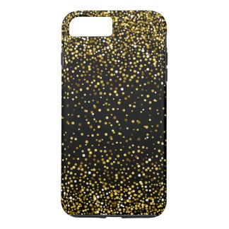 Capa iPhone 8 Plus/7 Plus Preto & design moderno dos confetes do ouro