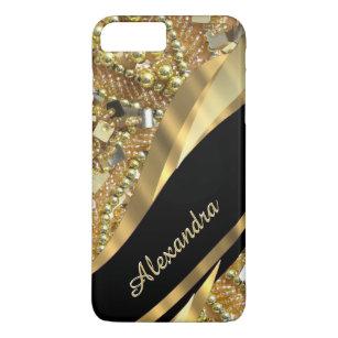 Capa iPhone 8 Plus/7 Plus Preto elegante chique personalizado e ouro que