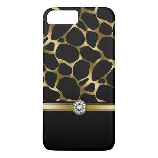 Capa iPhone 8 Plus/7 Plus Preto elegante & impressão animal do leopardo do