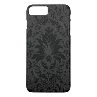 Capa iPhone 8 Plus/7 Plus Preto & ornamento floral monocromático cinzento 2