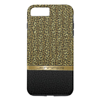 Capa iPhone 8 Plus/7 Plus Preto & teste padrão geométrico moderno do ouro