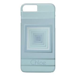 Capa iPhone 8 Plus/7 Plus Quadrados geométricos elegantes (azuis claros)