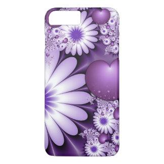 Capa iPhone 8 Plus/7 Plus Queda no Fractal das flores & dos corações do