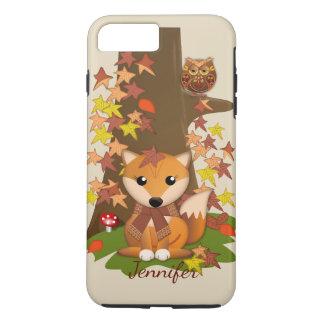 Capa iPhone 8 Plus/7 Plus Raposa bonito e coruja no outono mais o nome feito