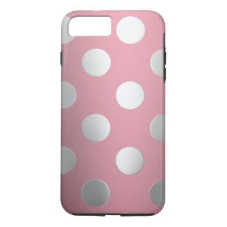 Capa iPhone 8 Plus/7 Plus Rosa, bolinhas de prata