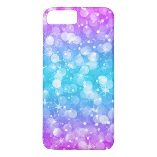 Capa iPhone 8 Plus/7 Plus Rosa Glam & azul de Ombre do brilho de Bokeh