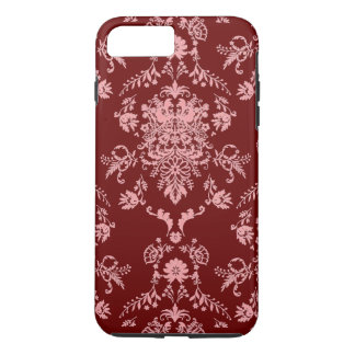 Capa iPhone 8 Plus/7 Plus Rosa no damasco marrom
